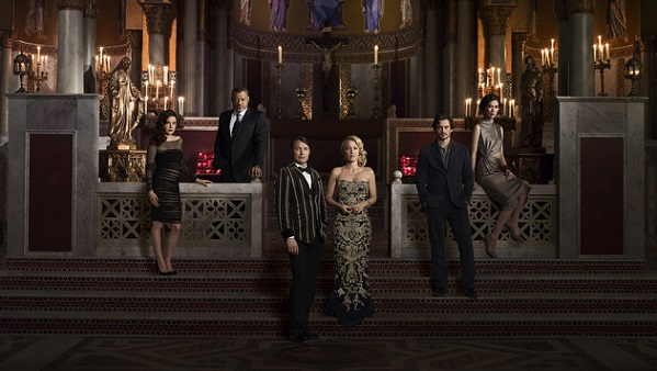 HANNIBAL -- Season: 3 -- Pictured: (l-r) Caroline Dhavernas as Alana Bloom, Laurence Fishburne as Jack Crawford, Mads Mikkelsen as Hannibal Lecter, Gillian Anderson as Bedelia Du Maurier, Hugh Dancy as Will Graham, Tao Okamoto as Chiyoh -- (Photo by: Elisabeth Caren/NBC)